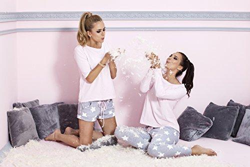 Pigeon Lingerie - Pijama de algodón, ropa de andar por casa, superior y fina, pantalones largos, en gran caja de regalo Rosa