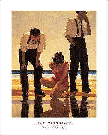 (Jack Vettriano Narcissistic Bathers Contemporary Art Poster Print 15.75 by 19.5)