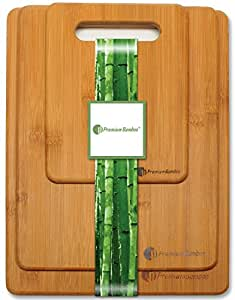 Premium Bamboo Durable Cutting Board Set Chopping Boards Comes In Small, Medium, & Large, Made From Strong Bamboo Wood Designed To Last A Lifetime, 3 Piece