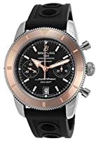 Men's Superocean Heritage Automatic Chrono 18k Rose Gold Bezel Black Dial Black Rubber