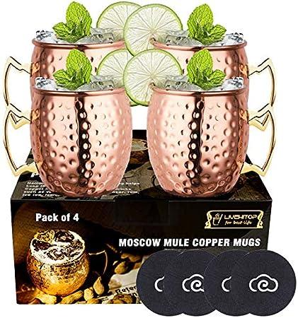 【Juego de tazas de cobre Premium】- Juego de 4 tazas Moscow Mule Copper, hechas a mano y pulidas con