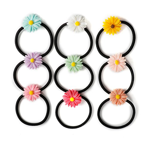 Munax 36 pcs Girls Toddlers Kids Women Hair Holder With flowers Hair Ties Elastic Rubber Bands