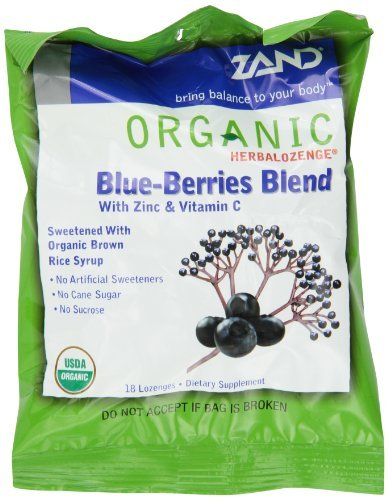 ZAND Herbalozenge Organic Lozenges, with Zinc and Vitamin C, Blue-Berries Blend, 12 - 18 lozenge bags (216 Lozenges) by (Organic 18 Lozenges)