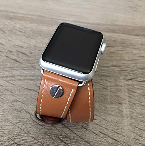 Brown Double Wrap Vegan Leather Band For Apple Watch All Series 38mm 40mm 42mm 44mm Handmade Eco Friendly Strap Apple Watch Bracelet Two Silver Metal Jewelry Rivets Fashion Apple iWatch Band ()