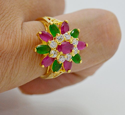 22k Yellow Gold Plated Women AAA Syn Siamese Ruby Emerald Cz Ring Size (Siamese Ruby)