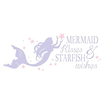 ba1ce30cf4768 decalmile Purple Mermaid Wall Decals Quotes Mermaid Kisses & Starfish Wishes  Pink Stars Girls Wall Stickers