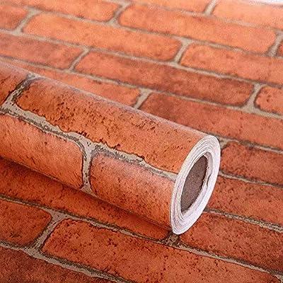 Lependor Decorative Wallpaper Self-Adhesive Wallpaper Grey Brick Printed Stick Paper Easy to Apply Peel and Stick Wallpaper