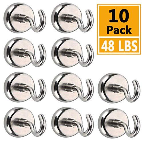 AUTIDEFY Magnetic Hooks, 48LBS Heavy Duty Neodymium Rare Earth Magnet Hook (10 Pack) - Kitchen Bathroom Bedroom Garage lockers Office