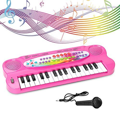 SAOCOOL Toddler Piano Kids Piano, 32 Keys Multifunction Electronic Kids Keyboard Piano Music piano keyboard for kids with Microphone (Pink) - Fisher Price Keyboard