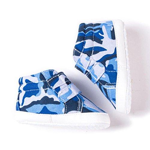 Clode® Neugeborene Kleinkind Baby Säuglingsmädchen Jungen Tarnungs weiche rutschfeste Segeltuch Schuhe Blau