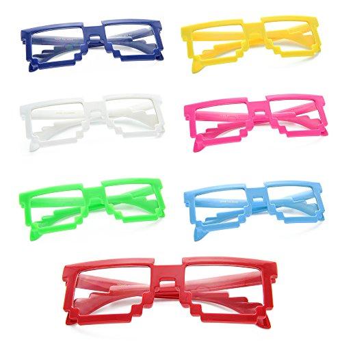 MJ Eyewear Pixelated Blocks Glasses Clear Lens (Pack of 12 (Random Colors), Clear)