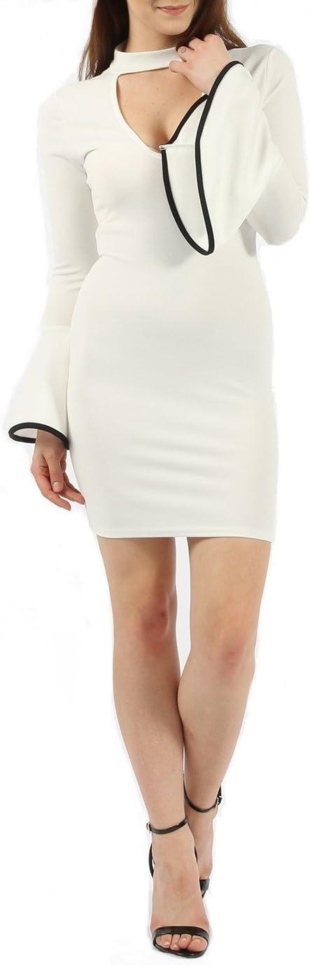 Missi Clothing Women's Choker Bell Sleeves Circle Cuff Sheath Dress