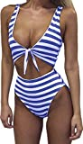 #10: Farktop Women's Swimsuits High Waisted One Piece Bathing Suits Sexy Tie Knot Front