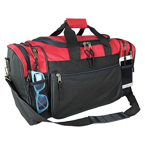 Dalix 20 Inch Sports Duffle Bag with Mesh and Valuables Pockets, Red