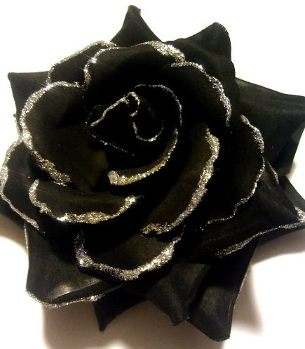 Large Black Rose Hair Flower Clip and Pin with Silver Glitter