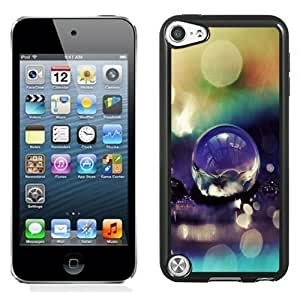 Fashionable Custom Designed iPod Touch 5 Phone Case With Macro Purple Water Drop Bokeh_Black Phone Case