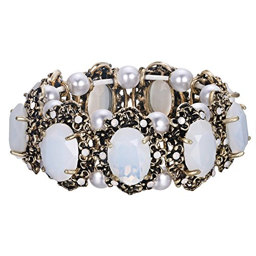 BriLove Victorian Style Stretch Bracelet for Women Crystal Simulated Pearl Multi Floral Cameo Inspired Oval Bracelet Opal Color Antique-Gold-Toned
