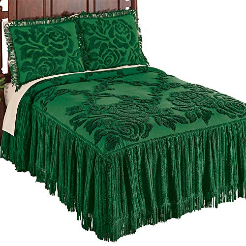 Collections Etc Raised Rose Trellis Chenille Floral Bedspread with Braided Fringe Trim, Emerald, King