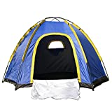 OUTAD 3 Person Waterproof Tent Hexagonal Large Camping Hiking Tent With Carry Bag Blue(94*82*51″)