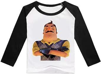 Hello Neighbor Manga Larga Camiseta Camiseta de Manga Larga for niños Tops de algodón Camiseta Casual for niños Camiseta de impresión de Dibujos Animados for niña y niño niños: Amazon.es: Ropa y