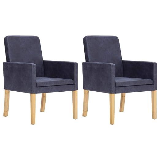 Festnight - 2 sillones modernos de piel sintética gris ...