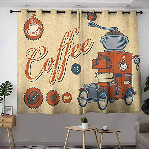 VIVIDX Thermal Insulating Blackout Curtains,Retro Artsy Commercial Design of Vintage Truck with Coffee Grinder Old Fashioned,Grommet Curtains for Bedroom,W55x45L Cream Orange Grey
