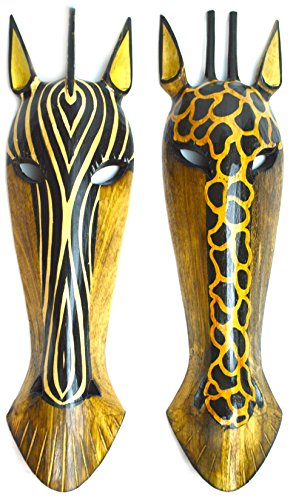 "22"" Pair of Giraffe and Zebra Hand Carved Tribal Head Masks"