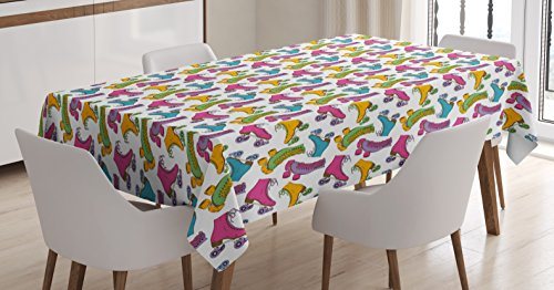 Ambesonne Teen Room Tablecloth, Retro Colorful Roller Skates in Vivid Colors Girls Sports Hobby Illustration, Dining Room Kitchen Rectangular Table Cover, 60
