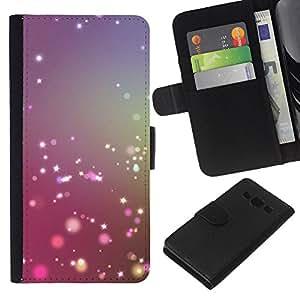 KLONGSHOP // Tirón de la caja Cartera de cuero con ranuras para tarjetas - Polvo de hadas púrpura azul Niebla Enfoque - Samsung Galaxy A3 //