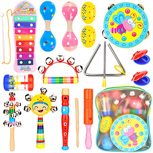 Amagoing Kids Musical Instruments, Wooden Percussion Instruments Toy Activity Center for Preschool Educational with Storage Backpack