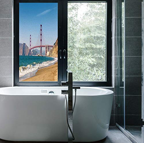 C COABALLA Frosted Window Film Stained Glass Window Film,Landscape,Work Well in The Bathroom,Panoramic View of Golden Gate Bridge San Francisco,24''x48''
