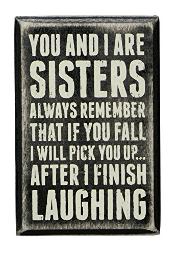 "Primitives by Kathy 19450 Box Sign, 3"" x 4.5"", Sisters Laughing"