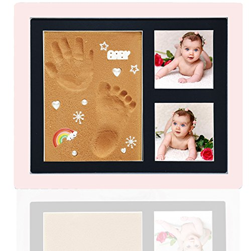 Baby Footprint Kit Picture Frame by Kaimono (Pink) - New Faster Safer Cleaner Foam, Baby Boys Girls Handprint Photo Kit,...
