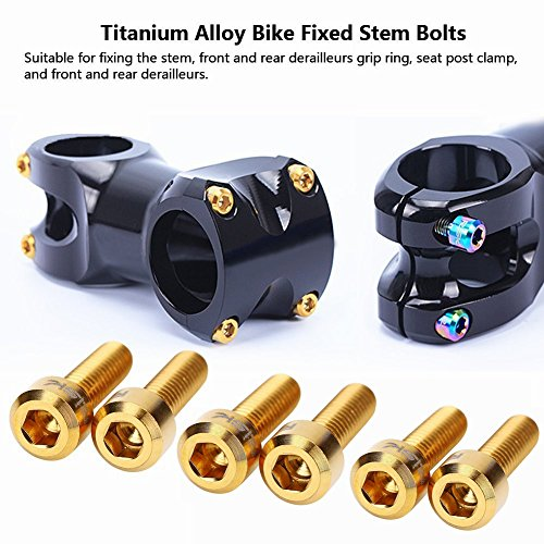 Titanium Stem Bolts M5 16mm Bicycle Stem Bolt Titanium Bolt Screws Bike Fixed Stem Bolts for Mountain Bicycle Stem Parts Bike Screws 6Pcs(Gold) (Titanium Bike Parts)