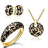 Est Jewelry Ninabox 18k Yellow Gold Plated Butterfly Jewelry Set with Black Enamel and Genuine Austrian Crystal Fashion JewelryTAZ04817BL 18k charms for necklaces for women