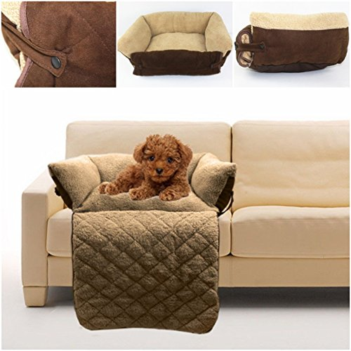 1Pc Tip-top Popular Pet Sofa Bed Size L Enough Padding Short Cushion Kennel Pad Color Brown by GVGs Shop