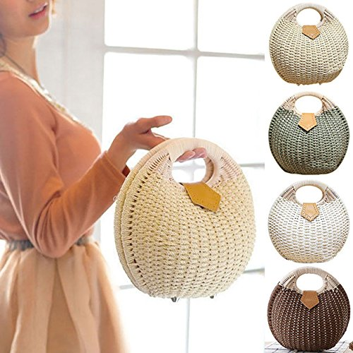 Rattan Tote Beach Bags Summer Brown Shell Women Handbag Straw ShiyiUP Bag ST8wfAZqx