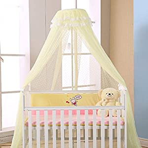 WALLER PAA Baby Crib Mosquito Net Princess Dome Bed Netting Newborn Bedding Canopy (Yellow(Net))