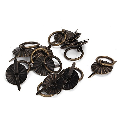Mxfans 10pcs Small Vintage Bronze Round Drop Handles Knobs For Drawer Cabinet