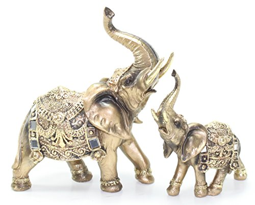 Set of 2 Feng Shui Brass Color Elegant Elephant Trunk Statue Wealth Lucky Figurine Home Decor Gift US Seller - Brass Trunk