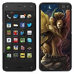 // PHONE CASE GIFT // Duro Estuche protector PC Cáscara Plástico Carcasa Funda Hard Protective Case for Amazon Fire Phone / Lion Snake Ancient Symbols Now Moon /