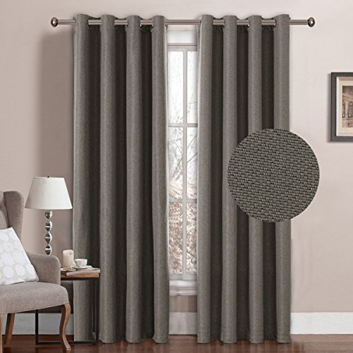 al Grommet Top Room Darkening Thermal Insulated Heavy Weight Textured Tiny Plaid Linen Finishing Innovated Living Room Curtains,52 by 84 Inch-Taupe Gray(1 Panel) (Single Living Room)