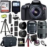 Canon EOS Rebel T6 DSLR Camera Kit, EFS 18-55mm, EF 75-300mm Zoom Lens, 64GB Sandisk Memory Card, Polaroid .43x Super Wide Angle, 2.2X HD Telephoto Lens, Canon Bag, Tripods & Accessory Bundle