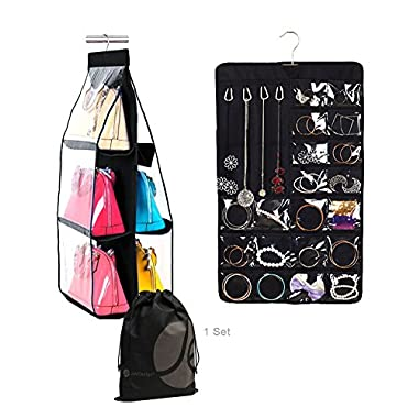 JAVOedge Black Closet Storage Accessory Set With Jewelry / Necklace Hanger Pouch and 6 Slot Divided Purse Organizer