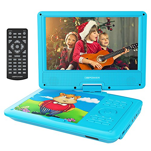 DBPOWER 9' Portable DVD Player with Rechargeable Battery, Swivel Screen, SD Card Slot and USB Port, with 1.8M Car Charger and 1.8M Power Adaptor (Blue)