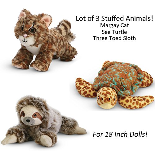 American Girl Lea Lot Of 3 Margay Cat  Sea Turtle  Three Toed Sloth For 18 Inch Dolls