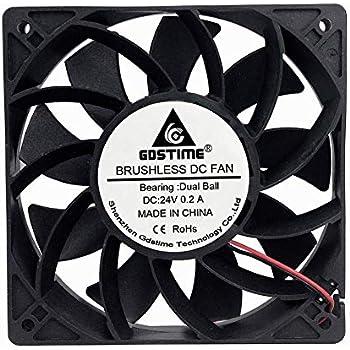 GDSTIME 24V DC Brushless Cooling Fan, 120mm Case Fan, Dual Ball Bearings 120mm x 120mm x 25mm Cooler Fan