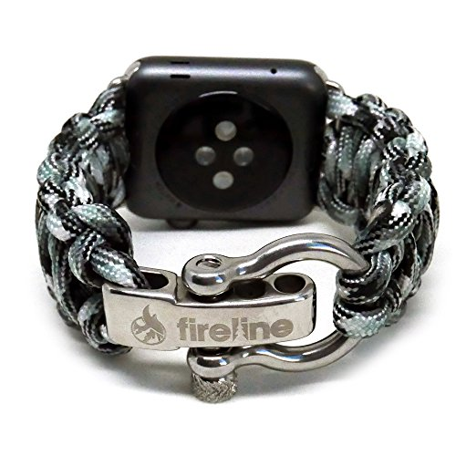 FIRELINE Apple Watch Band 42mm Replacement Paracord Watch Band with Rugged Outdoor Survival Stainless Steel Shackle and Urban Camo color 550 Paracord Series 1, 2 And 3 - Urban Camo, Large