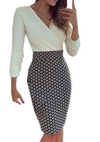 Damen Mode Pakethüften Kleid Reizvolle V Schnitt Pullikleid Langarm Festkleid Einfarbig Ballkleid Spleißen Cocktailkleid Slim Schrittrock Etuikleider
