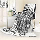 vanfan Super Soft Fleece Throw Blanket Illustration a Vintage Africa Map Hand Written Letters Print Coconut Silky Soft,Anti-Static,2 Ply Thick Blanket. (60''x50'')